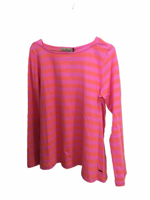 Basic Longsleeve gestreift, Rosa/Orange
