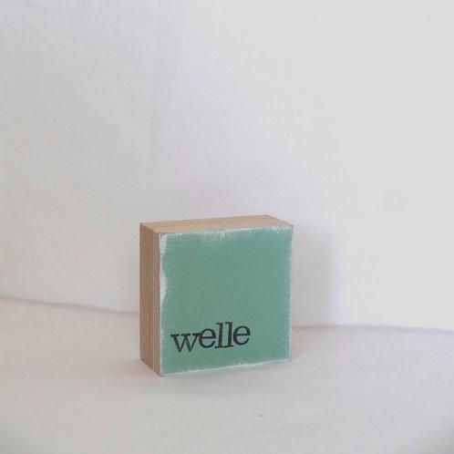Mini Text-Holzblock, 'Welle' mint