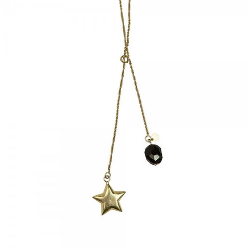 Magic Schwarze Onyx Goldfarbene Halskette