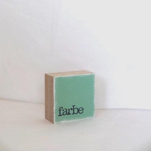 Mini Text-Holzblock, 'Farbe' mint