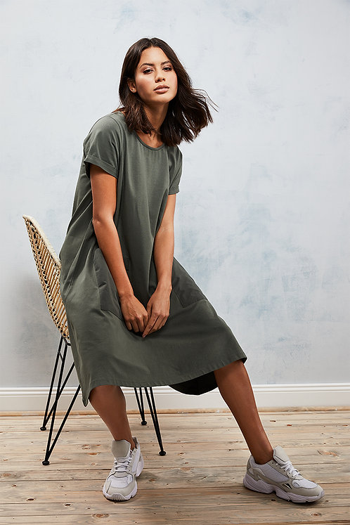 Smith & Soul T-Shirt Kleid, Olive