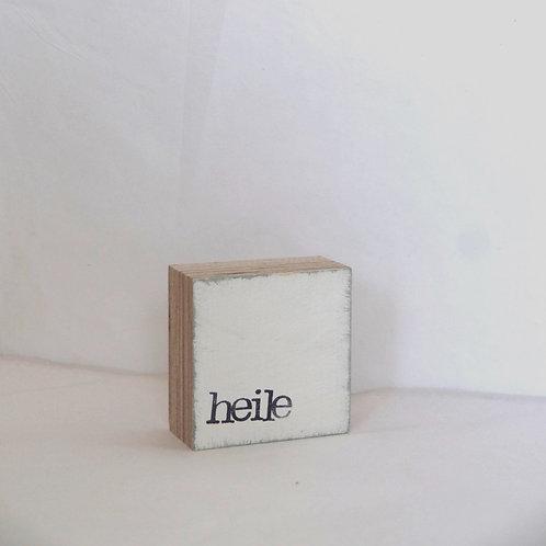 Mini Text-Holzblock, 'heile' weiß