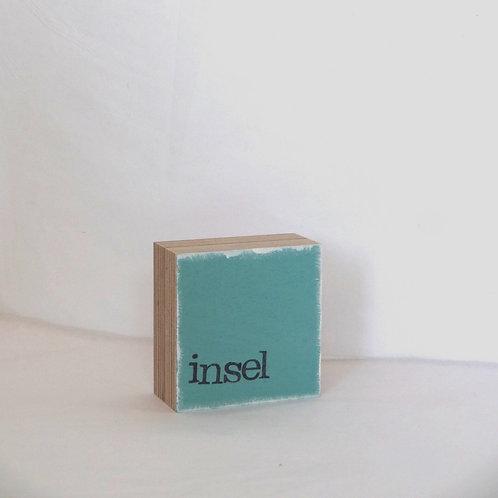 Mini Text-Holzblock, 'Insel' taubenblau