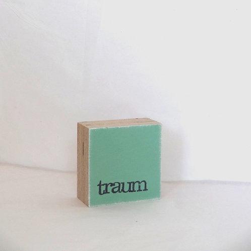 Mini Text-Holzblock, 'Traum' mint