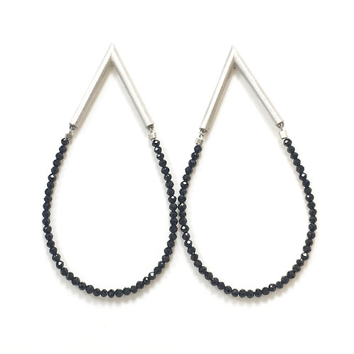 Sterling silver and black spinel earrings