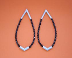Linear earrings, sterling silver, onyx