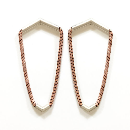 Sterling silver and copper chain earrings
