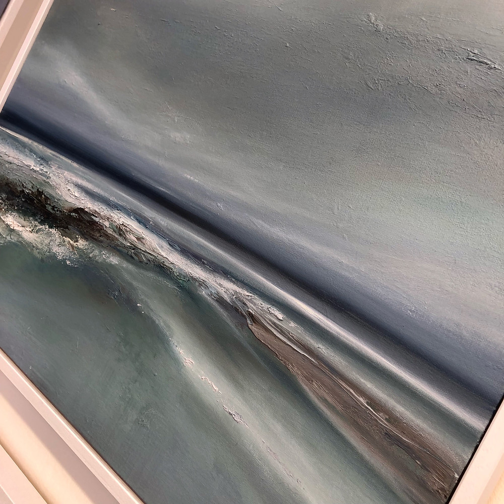 New original oil painting semi abstract seascape