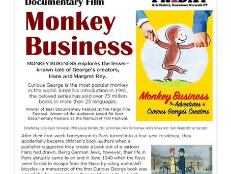 Curious George Comes to Norwalk (Public Library) FIRST FRIDAY Aug 3