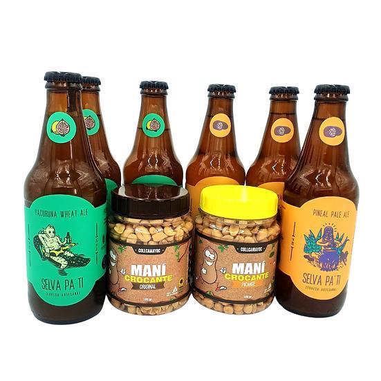 Pack cervezas artesanales y maní crocante