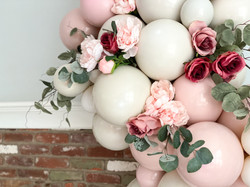 Pink and Cream Floral Balloon Cluster