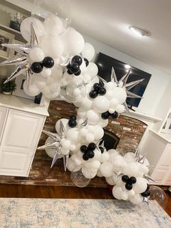 White and Black Organic Balloon Garland