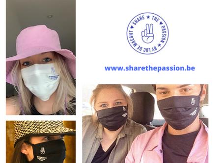 Veilig altijd en overal of op vakantie met de Share the Passion mondmaskers!