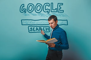 man shows a pointer to search Google hol