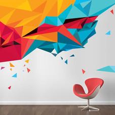 Triangelmønster på hvit vegg