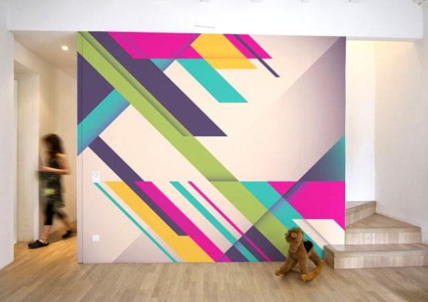 Geometrisk former med og futuristiske farger
