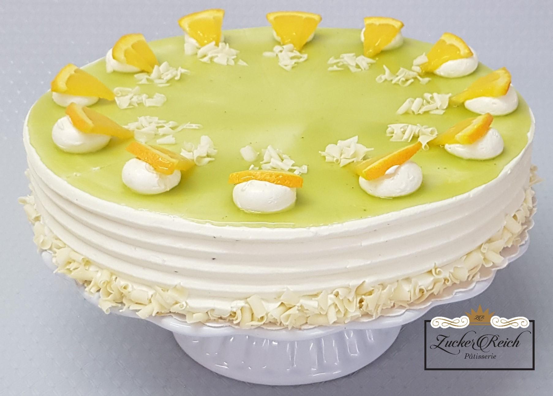 Matcha-Orangen Cremetorte