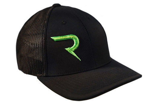 "Flo Green ""R"" on Black -  FlexFit Hat"