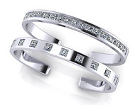 Emily Prior Princess Cut Bangle White (1