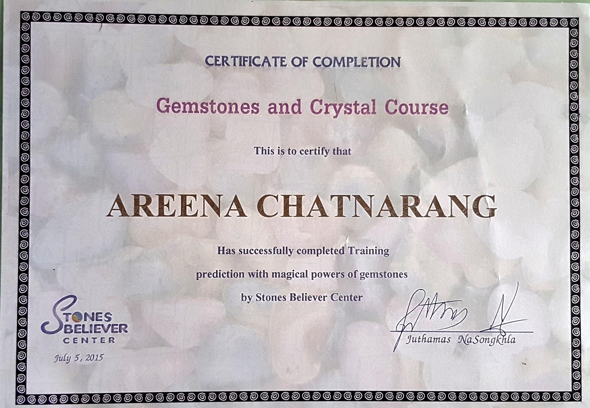 crystal certificate