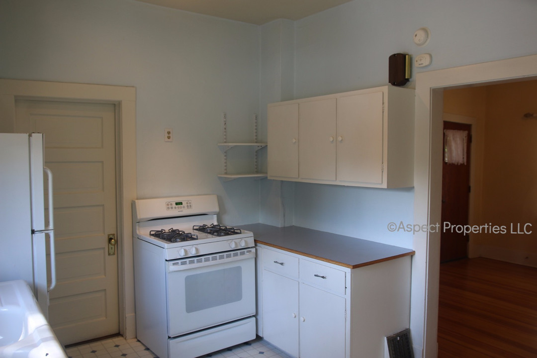 Kitchen stove and cabinets