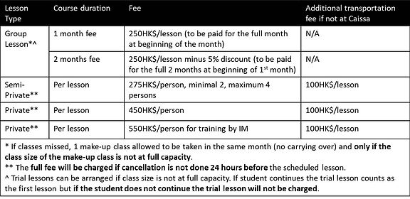 fee structure caissa from January 2018.j