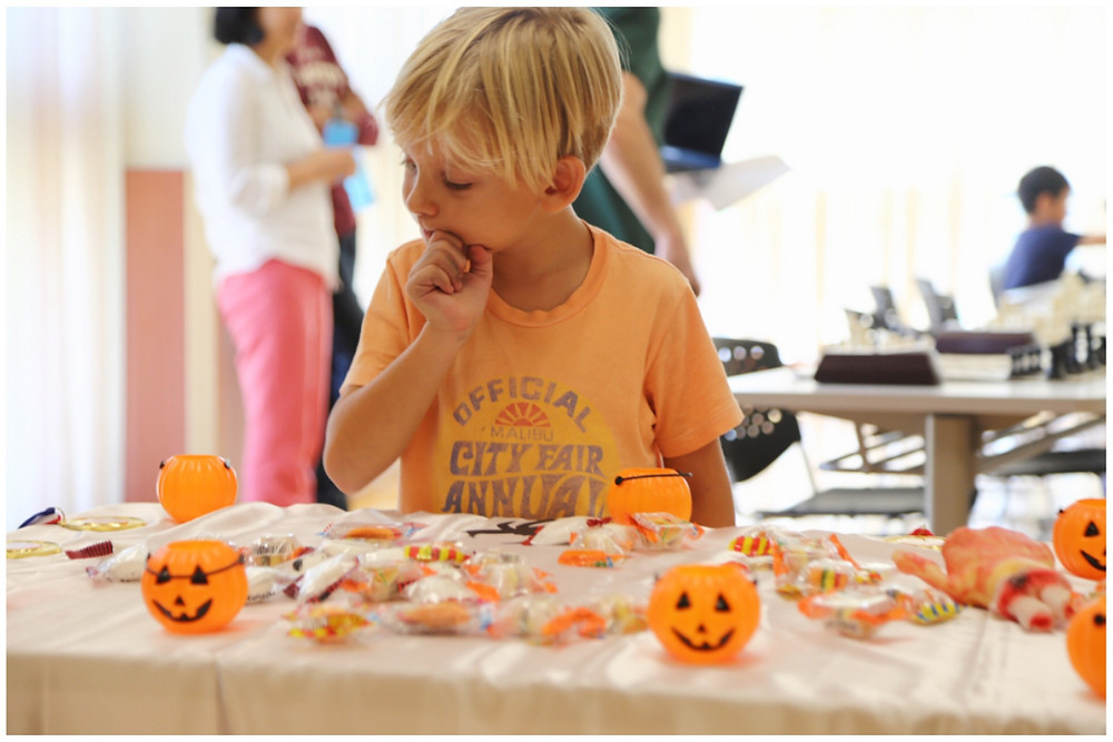 Roemer looking at the Halloween treats at the October 2015 EOM