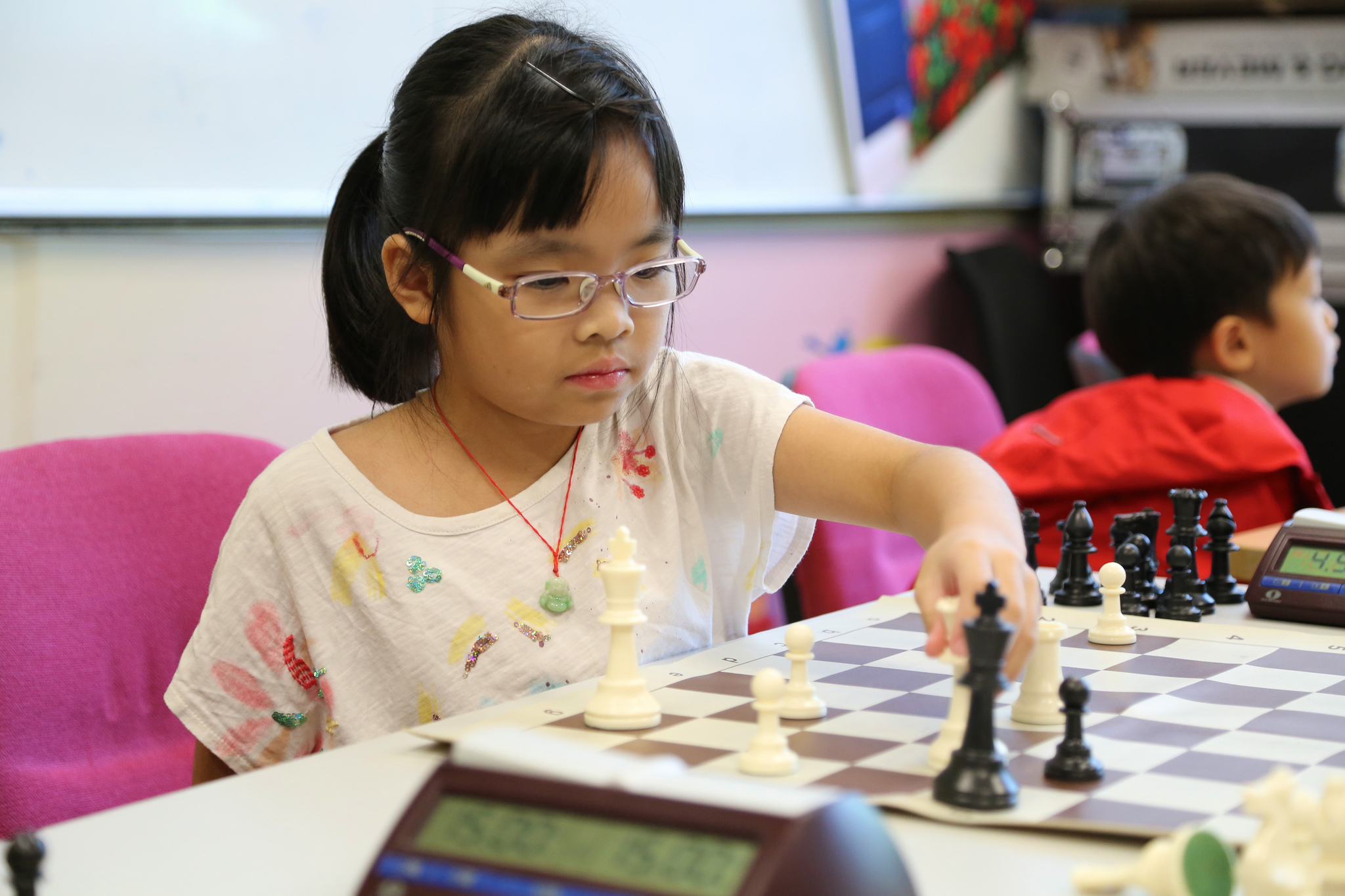 Michelle Chan enjoying white pieces