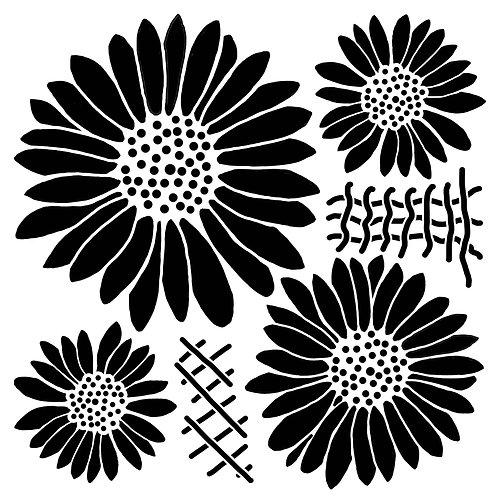 8x8 inch Sunflower Stencil