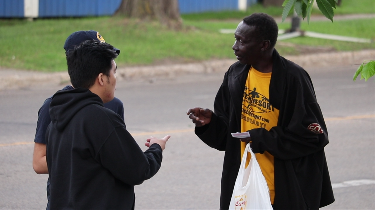 Outreaching in front of the Church