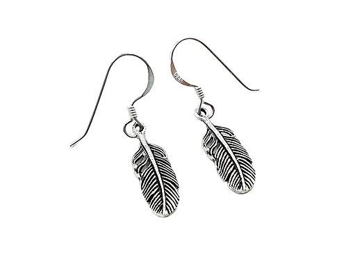 Feather, Drop, Earrings, Feather Drop Earrings, Silver Feather Drop Earrings, Sterling Silver Feather Drop Earrings,