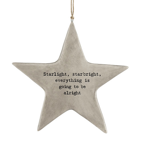 Rustic Porcelain Star 'Starlight Starbright' Hanging Sign