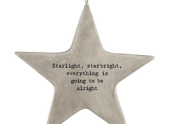 Rustic Porcelain Star 'Starlight Starbright' Hanging Sign