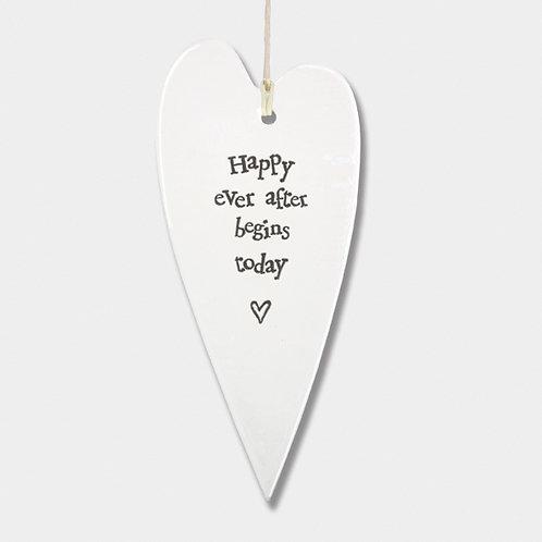 Long Porcelain Heart 'Happy ever after' Hanging Sign