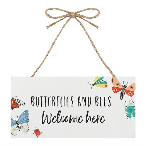 Butterflies and Bees Welcome Hanging Sign