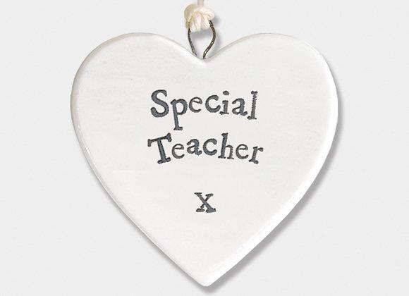 Mini Porcelain Heart 'Special Teacher' Little Hanging Sign