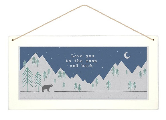 Wooden Moon and Back Forest Hanging Sign