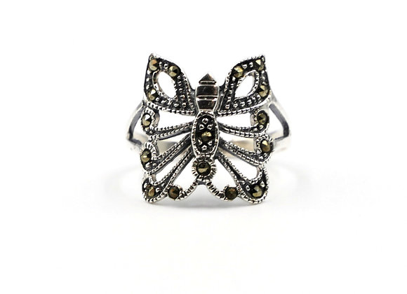 Marcasite Butterfly Ring 925 Sterling Silver Ring