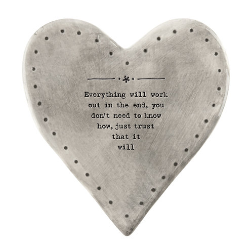 Rustic Porcelain Heart Coaster 'Everything will work out'