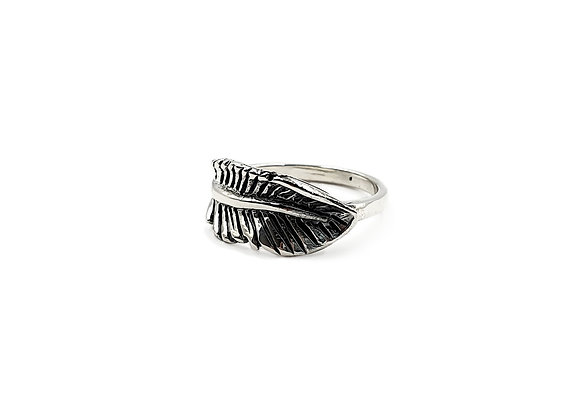 The Large Rustic Feather Leaf 925 Sterling Silver Ring
