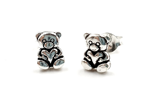 Teddy, Bear, Teddy Bear Earrings, Silver Teddy Bear Earrings, Silver Teddy Bear Studs, Sterling Silver Teddy BEar Earrings,