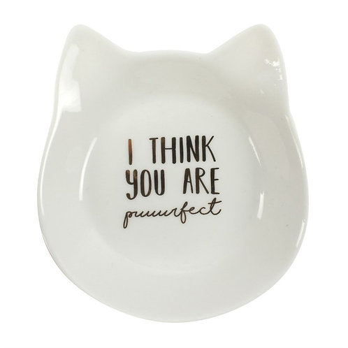 Cat Shaped 'you are puurfect' Porcelain Trinket Dish
