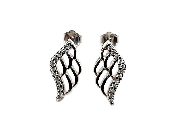 The Simple Frosted Angel Wings 925 Sterling Silver Stud Earrings