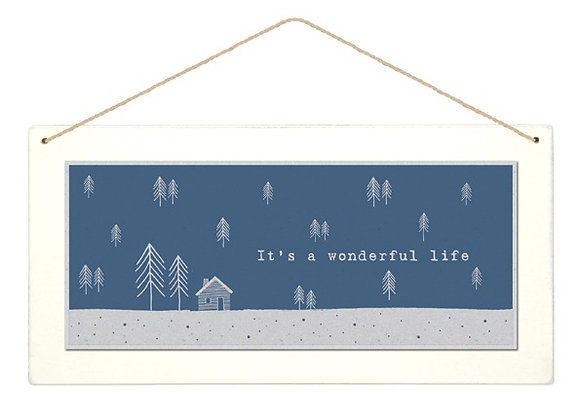 Wooden 'Wonderful Life' Forest Hanging Sign