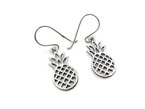 Pineapple, Drop Earrings, Silver Pineapple Earrings, Silver Pineapple Drop Earrings, Sterling Silver Pineapple Earrings,