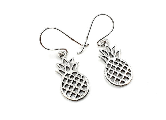 Pineapple, Drop Earrings, Silver Pineapple Earrings, Silver Pineapple Drop Earrings, Sterling Silver Pineapple Earrings,