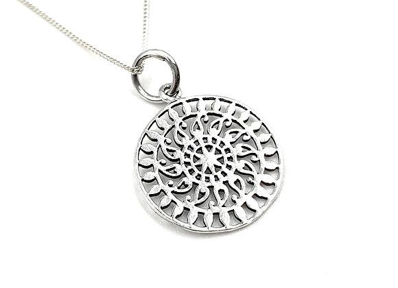 Mandala, Mandala necklace, Silver Mandala Necklace, Sterling Silver Mandala necklace,