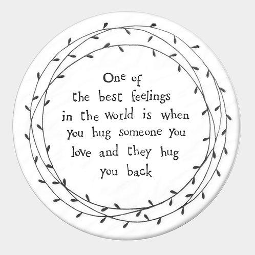 Round Porcelain Coaster 'Hugs'