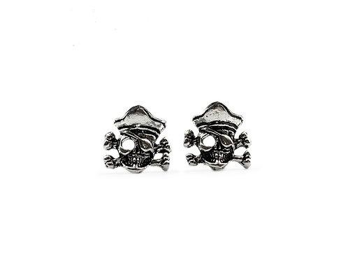 The Pirate Skull Stud Earrings 925 Sterling Silver
