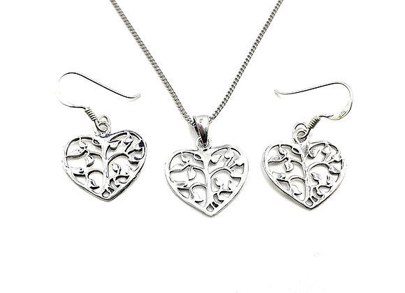 The Flower Heart Gift Set 925 Sterling Silver